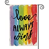 AVOIN Love Always Wins Rainbow Garden Flag Vertical Double Sided Pride Gay Pride Lesbian LGBT, Pansexual Burlap Flag Yard Out