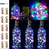 VIPMOON Cork Lights,10 Packs 20 LED/6.56Ft Colorful Wine Bottle Cork String Lamp,Fairy Mini Line Lamp with Battery-Powered fo