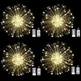 Haliluya 4Pack 200 LED Copper Wire Firework Lights,Battery Operated Starburst Light with Remote,8 Modes String Fairy Lights W