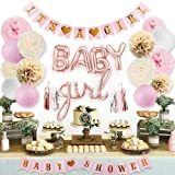 Sweet Baby Co. Pink Baby Shower Decorations for Girl with It's A Girl Banner, Baby Girl Letter Balloons, Flower Pom Poms, Pap