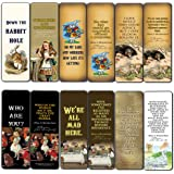 Alice in Wonderland Bookmarks Cards Series 1 (12-Pack) - Vintage Literary Quotes Bookworm Reading Gifts - Bookish Theme Party