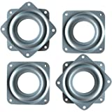 4 Pack 3 Inch Square Lazy Susan Turntable Bearings Hardware Small Rotating Bearing Plate with 150 Pound Capacity (Silver)