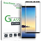 Galaxy Note 8 Screen Protector Glass, amFilm Full Coverage (3D Curved) Screen Protector with Dot Matrix & Installation Tray f