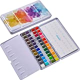 MEEDEN Watercolor Paint and Brush Set, 48 Vibrant Colors in Pocket Box with Palette, Non-Toxic Watercolor Travel Pan with Met