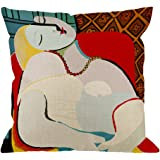 HGOD DESIGNS Throw Pillow Case Colorful Picasso Cotton Linen Square Cushion Cover Standard Pillowcase for Men Women Kids Home