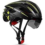 Shinmax ヘルメット 自転車 大人 CPSC認定済み USB充電 LEDライト付 反射ステッカー付き ロードバイクヘルメット 軽量 虫対策 磁気ゴーグル 着脱可能 57cm~62cm 男性 女性 サイクリング 山地 ロード オフロード 通気性