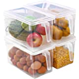 Eanpet Large Fridge Organizer Food Storage Containers Stackable Refrigerator Organizer Bins with Lids Clear Plastic Organizer