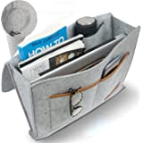 Premium Bedside Organizer Caddy - Heavy Duty Buckles Hold Up to 20 Lbs With Large Pockets - Double-Layered Thick Felt - Two E
