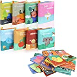Lictin Baby First Cloth Book-8 Pcs Nontoxic Fabric Baby Soft Book Set Baby Cloth Activity Crinkle Soft Books for Infants Earl