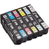 【Amazon限定ブランド】レイワインク エプソン(EPSON) IC6CL70L 増量 6色セット 対応 リサイクル インクカートリッジ 日本製 JIT-NE70L6P