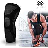 LIFEWAY Compression Knee Sleeve - Best Knee Brace for Men & Women - Knee Support for Jogging, Running, Crossfit, Basketball,