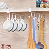 EigPluy 2pcs Mug Hooks Under Shelf Mug Holder Cups Storage Rack Drilling Free Coffee Cups Holder Kitchen Utensil Holder Key H