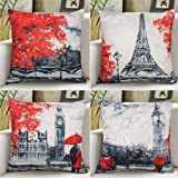 Hibedding Cartoon Flowers Throw Pillow Case - Cotton Linen Cushion Covers for Sofa Bed 18 x 18 Inch Home Decoration, 4 Pack 4