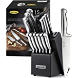 McCook MC21 14 Pieces FDA Certified Stainless Steel Hollow Handle Kitchen Knife Set in Hard Wood Block with Built-in Sharpene