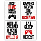 "Funny Game Art Print Inspirational Words Quote Poster Set of 4 (10 ""X8 ""Canvas Gaming Wall Art for Kids Boy Bedroom Playroom"