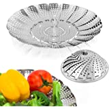 Sayfine Vegetable Steamer Basket, Premium Stainless Steel Veggie Steamer Basket - Folding Expandable Steamers to Fits Various