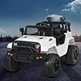 Rigo Kids Ride on Car Remote Control Car Jeep 12V Electric Toy Car White