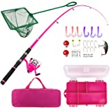 Lanaak Pink Fishing Pole and Tackle Box - Telescoping Rod with Spinning Reel, Net, Travel Bag, and Beginner's Guide - Kids Fi