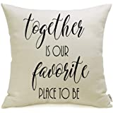 Meekio Farmhouse Throw Pillow Covers 18 x 18 for Farmhouse Décor, Linen, Together is Our Favorite Place to Be, 18 x 18