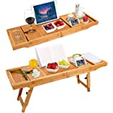 BRITOR Bamboo Bathtub Tray & Bed Laptop Desk with Foldable Legs,Extending Sides Built in Book Tablet Integrated Wineglass Hol
