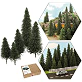 S0804 40pcs Dark Green Pine Model Cedar Trees 2.05-4.96 inch (52-126 mm) for Model Railroad Scenery Landscape Layout HO OO Sc