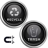 Recycle and Trash Logo Symbol - Elegant Golden Look for Trash Cans, Containers, and Walls - Laminated Vinyl Decal, Silver