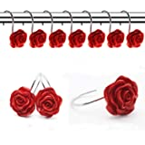 FINROS 12 PCS Home Fashion Decorative Anti Rust Shower Curtain Hooks Rose Design Shower Curtain Rings Hooks (RED)