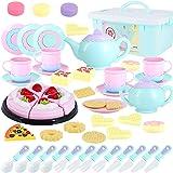 Toys Tea Set 50 Pieces Party Play Food for Kids,Princess Tea Time Toy Set Including Dessert,Cookies,Doughnut,Tea Party Access