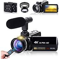 ビデオカメラ4K AMKOV デジタルビデオカメラ ウェブカメラ 3000万画素 18倍デジタルズーム 予備バッテリー…