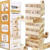 【2021年モデル】木製 バランスゲーム おもちゃ 日本語説明書1年間保証書付き 積み木ドミノ 51個 数字付きブロック サイコロ4個 収納に便利な専用バッグ付き プレゼントにもぴったり