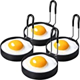 Urbanstrive 100% Non Stick Eggs Rings Stainless Steel Egg Cooking Rings Pancake Mold for frying Eggs and Omelet, Black (Black