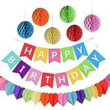 AmeiTech 誕生日 飾り付け セット 特大6つのペーパーフラワー ハニカムボール HAPPY BIRTHDAYガー…