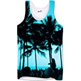Mens Tank Tops Vests Workout Tank Printed Ibiza Palm Trees Holiday Clothes Festival Top