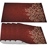 Moslion Grunge Placemats,Abstract Floral with Ombre Details Grunge Backdrop Flower Cream Ruby Place Mats for Dining Table/Kit