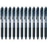 Pentel EnerGel-X Retractable Liquid Gel Pen 0.5mm Needle Tip Black Ink, Box of 12 (BLN105-A)