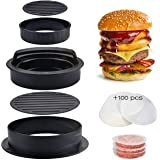 Tenckat 3 in 1 Burger Press with100 Wax Papers, Non-Stick Burge Maker Kit, Robust Barbecue Accessories, Easily Press Burger P