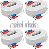 SANNCE 4-Pack 100ft BNC Video and Power Security Camera Cable with BNC Connectors and RCA Adapters For CCTV Camera System (Wh