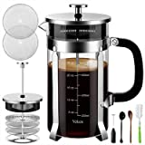 Veken French Press Coffee Maker, 304 Stainless Steel Coffee Press with 4 Filter Screens, Durable Easy Clean Heat Resistant Bo
