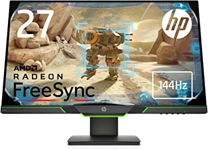 HP ゲーミングモニター 27インチ ディスプレイ 2K マイクロエッジ 4ms 144Hz駆動速度 HP X27i Gaming Monitor(型番:8AG16AA-AAAA)