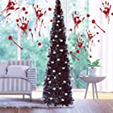 Fonder Mols 5ft Collapsible Artificial Halloween Tree, Pop Up Black Tinsel Coastal Christmas Tree for Holiday Carnival Party