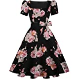 OBBUE Women's Square Neck Dress Vintage 1950s Cocktail Party Dress with Puff Sleeves