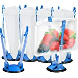 6 Pack Baggy Holder Stand - Hands Free Freezer Meals Prep - Baggy Rack Holders - Zip Lock Bag Stands for Gallon to Sandwich S