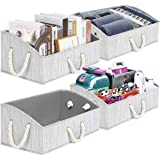 TomCare 4-Pack Storage Baskets Foldable Trapezoid Storage Box Fabric Cube Storage Box Storage Cubes with Cotton Rope Handles