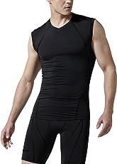 (テスラ) TESLA メンズ 冬用起毛 スリーブレス Vネックスポーツシャツ [吸湿発熱・保温] コンプレッションウェア パワーストレッチ アンダーウェア YUV35