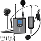 UHF Wireless Microphone System Headset Mic/Stand Mic/Lavalier Lapel Mic with Rechargeable Bodypack Transmitter & Receiver 1/4
