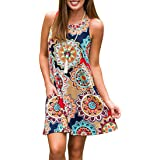 Misheep Women Notch V Neck 3/4 Sleeve Floral Printed Loose Tunic Shirt Top
