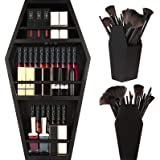nanayo Makeup Coffin Shelf And Coffin Brush Holder – 3 Shelf Coffin Makeup Holder for Gothic Decor – Free Standing or Wall Ha