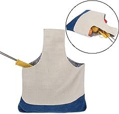 LUXJA トートバッグ 編み物 道具 保管 持ち運び 青