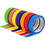 TradeGear Colored Masking Tape 7 Pk – 1 Inch x 15 Yards (45 Ft) - Rainbow Color General Purpose Craft Paper Tape – Perfect fo