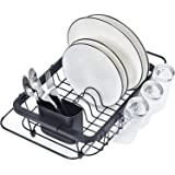 TOOLF Expandable Dish Drying Rack Over the Sink Adjustable Dish Rack In Sink Or On Counter Dish Drainer with Utensil Holder R